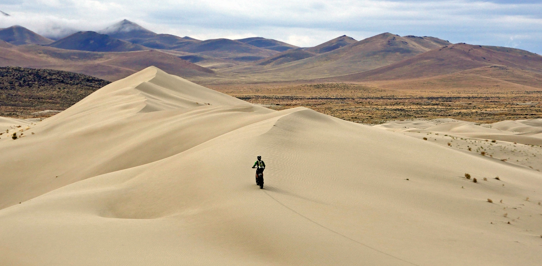 Chuck Austin, riding dunes near Winnemucca, Nevada
