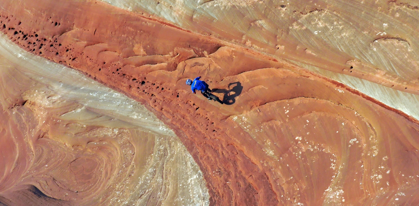 "Pat Smage riding in Moab -- from ""Off the Beaten Path."""